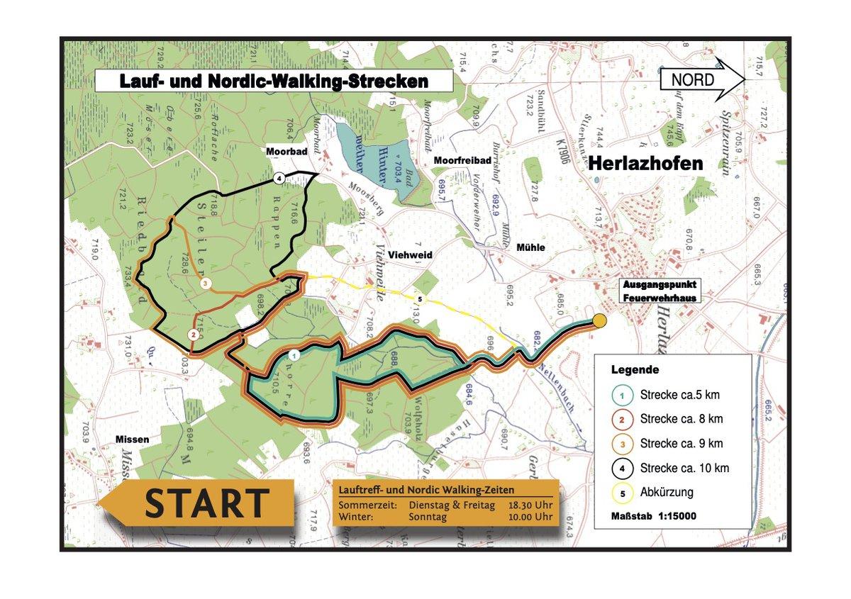 Lauf- und Nordic-Walking-Strecken des SV Herlazhofen